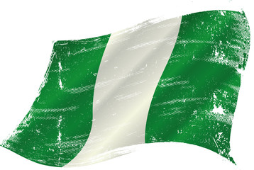 waving nigerian grunge flag