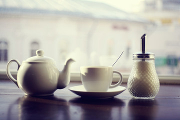 kettle for tea in a cafe