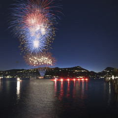 Fireworks on the lakefront of Ranco and Meina, Italy