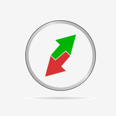 green and red arrow icon in circle vector