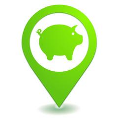 cochon sur symbole localisation vert