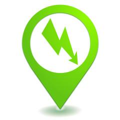 énergie électrique sur symbole localisation vert