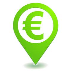 euro sur symbole localisation vert