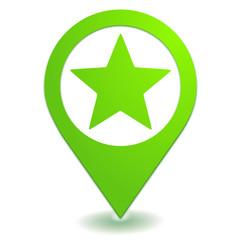 favori étoile sur symbole localisation vert