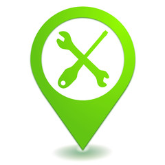 service après vente sur symbole localisation vert