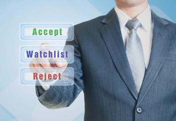 Man choosing the watchlist option