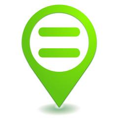 signe égal sur symbole localisation vert