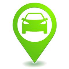voiture sur symbole localisation vert