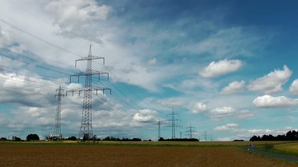 Landscape Field and Electric Poles Time Lapse