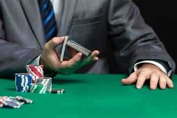 Blackjack In A Casino, Casino Worker Shuffling Cards