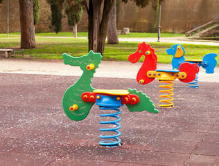 Colorful toys in the playground
