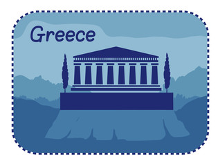 Illustration with acropolis of Athens in Greece