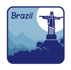 Illustration with Christ the Redeemer in Brazil