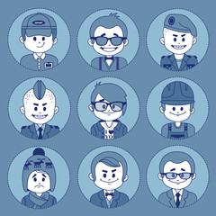 Set icons with characters . Different professions