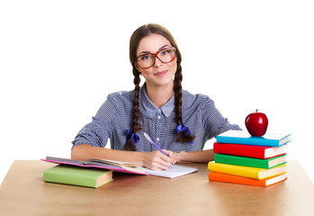 girl student and red apple