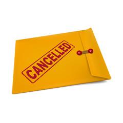 cancelled stamp on manila envelope