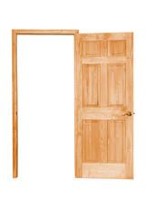 Opened wooden door