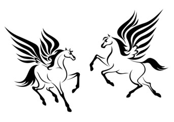 Black pegasus horse with wings