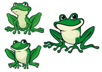 Green cartoon frogs