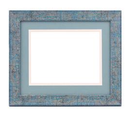 Blue wooden frame.