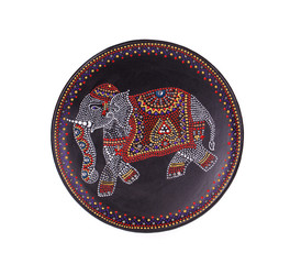 Ceramic plate with varnished elephant.
