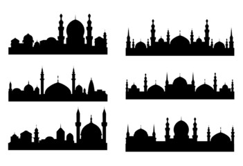 Six black silhouettes of Arabian cityscapes