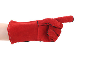 Pointing finger in red glove.