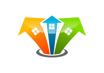 growth solution home group logo abstract bulding arrow