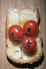 toast with tomato and herbs