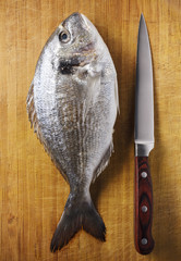 Fish with knife on textured wooden board