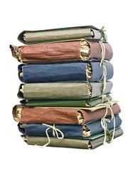 a stack of old folder