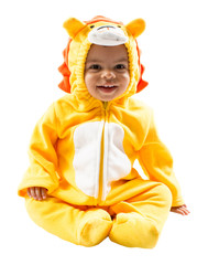 Black child boy,dressed in lion carnival suit, isolated