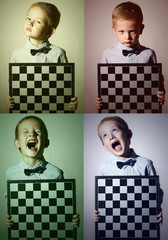 color collage.Faces of child.little boy with chessboard.Emotion