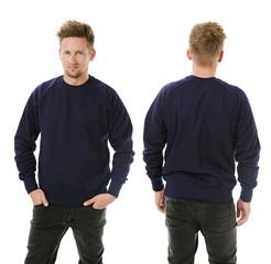 Man posing with blank dark purple sweatshirt