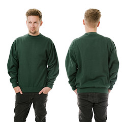 Man posing with blank green sweatshirt
