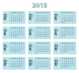 2015 blue french calendar