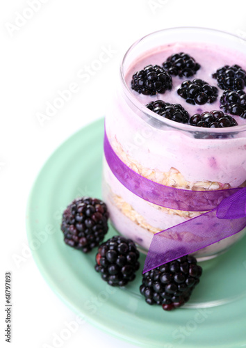canvas print picture Healthy breakfast - yogurt with  blackberries and muesli served