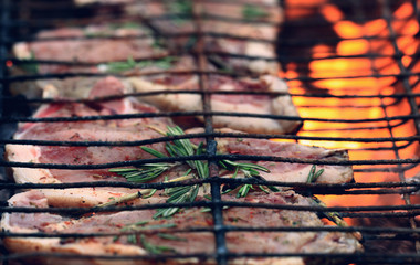 Barbecue meat on the coals, fire