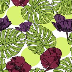 Фантастическая текстура из листьев и цветков мака