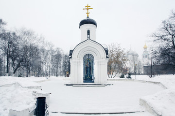 Russian Orthodox chapel winter