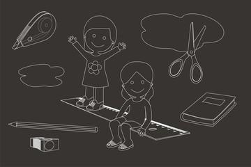 Niños y la vuelta al cole líneas fondo oscuro