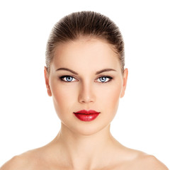 Beauty portrait of pretty woman with perfect healthy skin