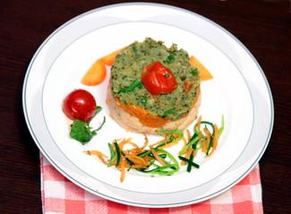 tortino di salmone,broccoli e carote