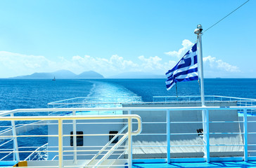 Sea summer view from ferry (Greece)