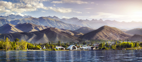Issyk Kul lake panorama