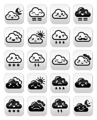 Cute Kawaii clouds with different expressions