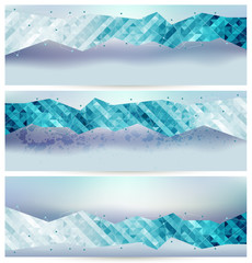 Set of abstract modern geometric banners background