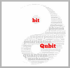 Qubit vs bit word cloud