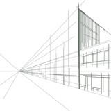Fototapety linear drawing of a street