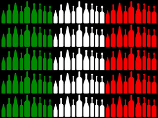 Wine Bottles Means Waving Flag And Brasserie